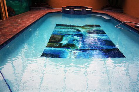 abstract custom glass mosaic swimming pool