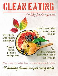 food magazine cover social media post template white