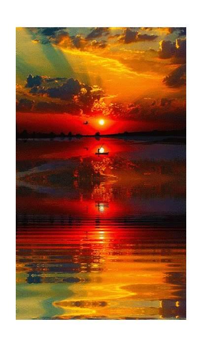 Sunset Reflection Water Stunning Painting Amazing Pretty