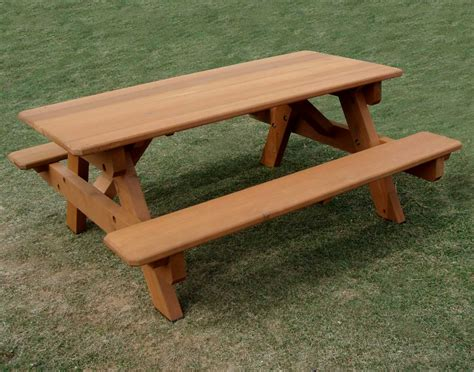 Red Cedar Heavy Duty Picnic Table Wattached Benches