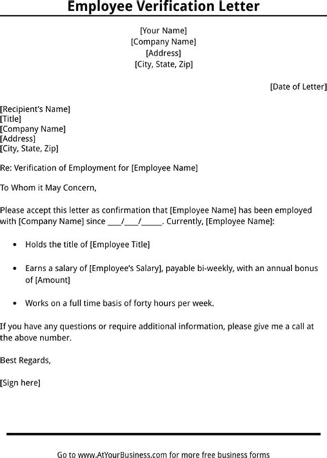 letter of employment verification employment verification letter template for free