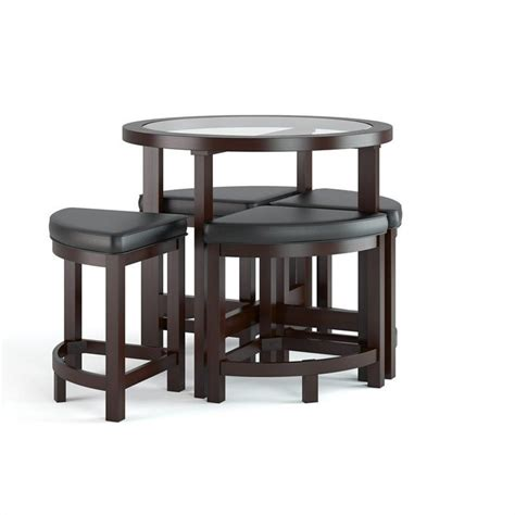 5 piece dining table chairs furniture set wood breakfast