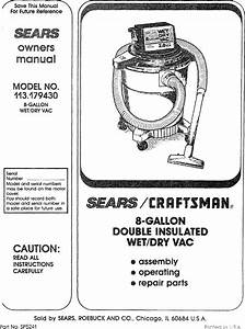 Craftsman 113179430 User Manual 8 Gallon Wet  Dry Vac