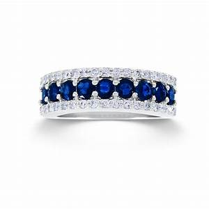 1 3 cttw round 10k white gold diamond sapphire wedding With sapphire wedding rings for women