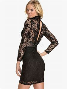 black sexy lace polyester short dress for women milanoocom With robe guess femme
