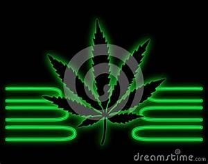 Neon Green Pot Leaf Stock Illustration Image