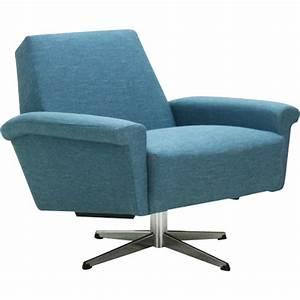 fauteuil de salon pivotant vintage en tissu bleu 1960 With fauteuil salon design pivotant