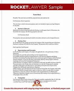 term sheet template sample term sheet rocket lawyer With acquisition term sheet template