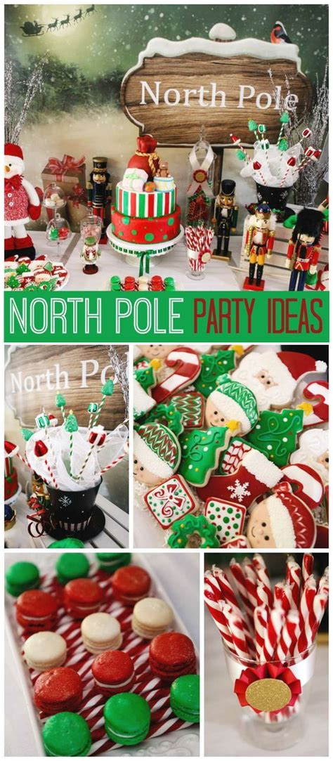 green  red north pole christmas party   santas