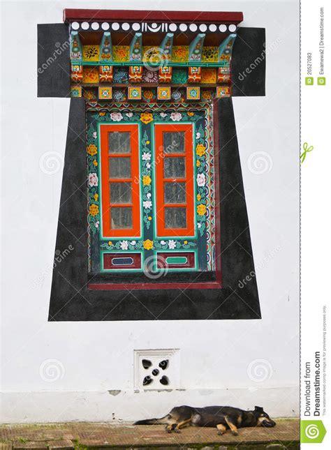 style tibetan window  sleeping dog stock