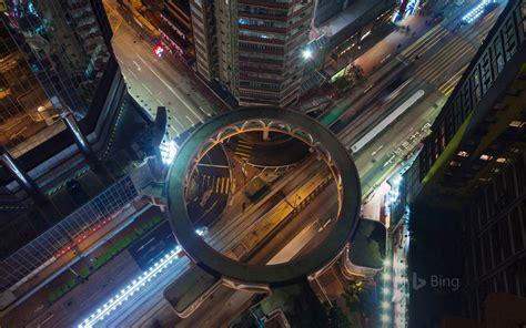 building walkway a pedestrian skyway in hong kong s wan chai district