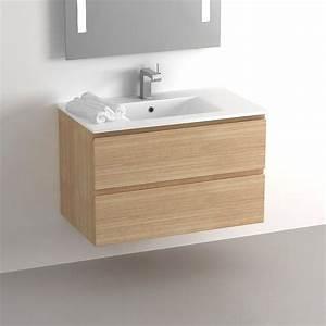 Meuble salle de bain 80 cm chene 2 tiroirs plan for Meuble vasque salle de bain 80 cm