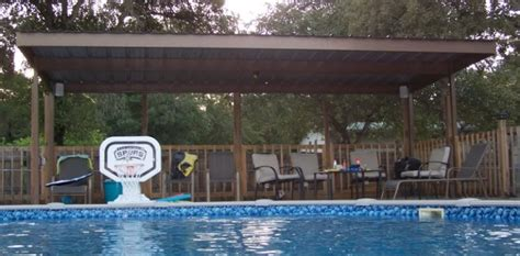 Metal Carport Awning Patio Cover Swimming Pool South Bexar
