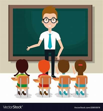 Teacher Students Classroom Vector Learn