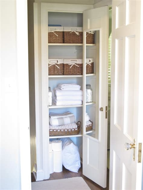 Small Bathroom Closet Organizer With Wooden Shelving Unit