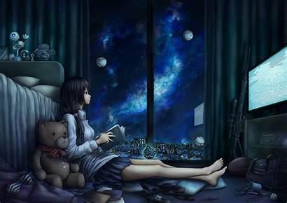 Night Anime Pc Space Computer Reading Midnight
