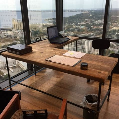 wood and steel desk luxury offices beautifully reclaimed wooden desks