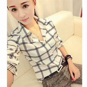 spring summer woman black white big plaid checkered shirts With blouse carreaux femme