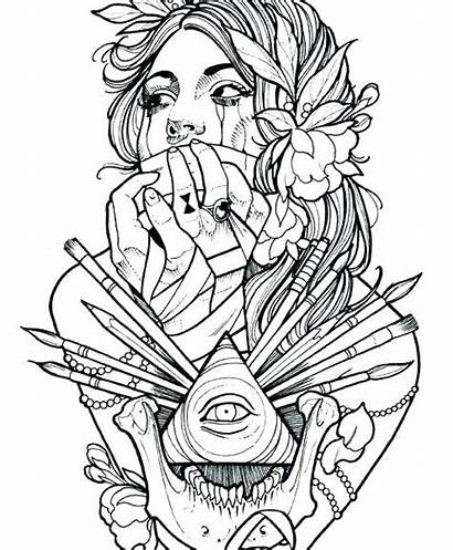 Coloring Tattoo Pages Adult Printable Designs Tattoos
