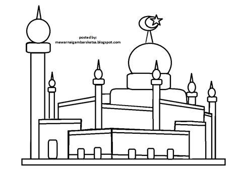 masjid kartun hitam putih