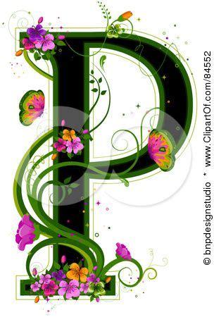 royalty  rf clipart illustration   black capital letter p outlined  green