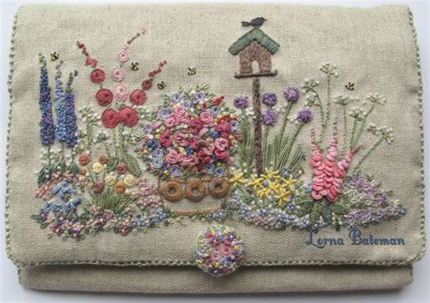 embroidered country gardens needlecase pattern print