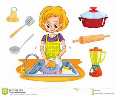 Water Washing Dishes Clipart Station Animated Woman