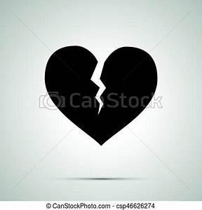Broken heart simple black icon with shadow vectors ...