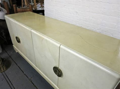 lacquered kitchen cabinets sideboard in goatskin with four doors and brass pulls 3624