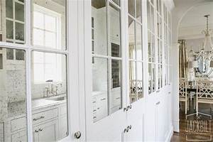 antiqued mirrored pantry cabinets transitional kitchen With what kind of paint to use on kitchen cabinets for mirror glass wall art