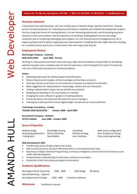 Web Developer Resume Exles by Web Developer Resume Resume Personal Statement