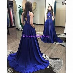 2017 royal blue prom dresses beaded high neck long robe de for Robe de soirée zara 2017