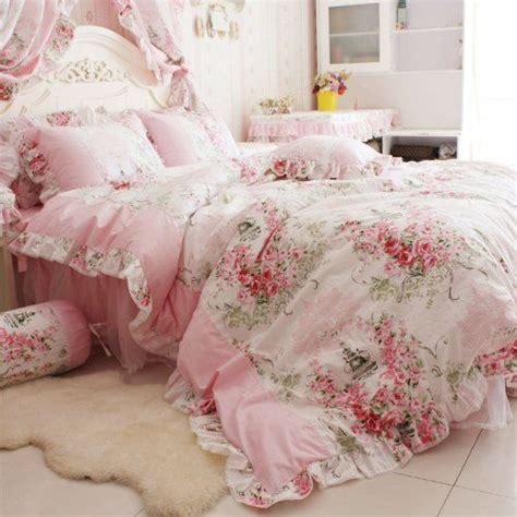 floral pink bedding fadfay home textile pink rose floral print duvet cover bedding set for girls 4 p ebay