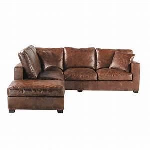 Canapé D Angle Vintage : photos canap d 39 angle cuir marron vieilli ~ Teatrodelosmanantiales.com Idées de Décoration