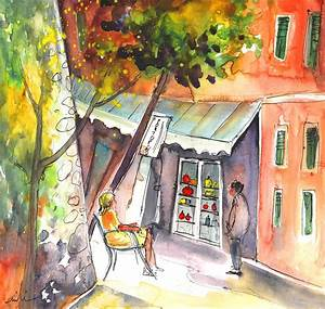 Shop Owner In Portofino In Italy Painting by Miki De Goodaboom