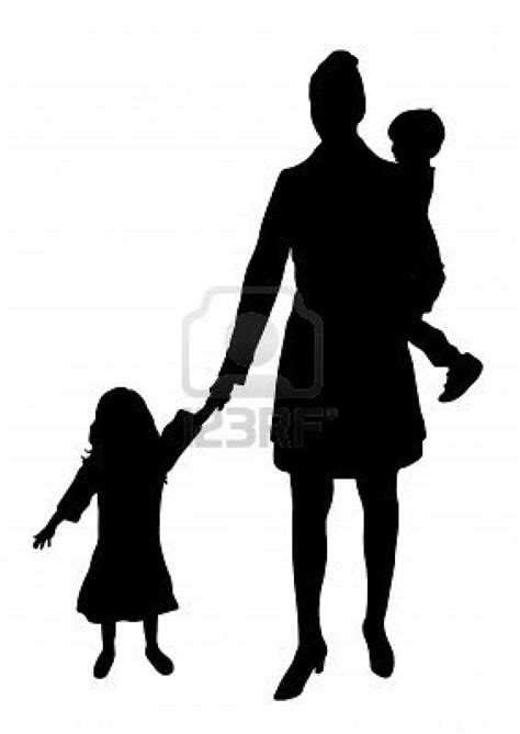 silhouette of mother with children | Black cat art