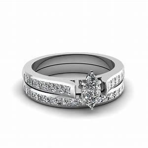 marquise cut channel set diamond wedding ring sets in 14k With marquise cut diamond wedding ring sets