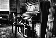 Vintage Black and White Piano Photography