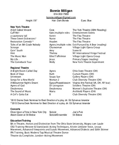 Theater Resume Exle by Sle Theatre Resume 9 Exles In Word Pdf