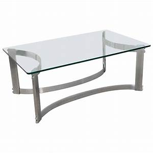 rectangular coffee table with glass top and curved chrome With glass top coffee tables for sale