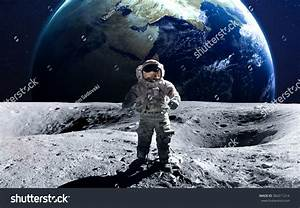 Brave Astronaut Spacewalk On Moon This Stock Photo ...