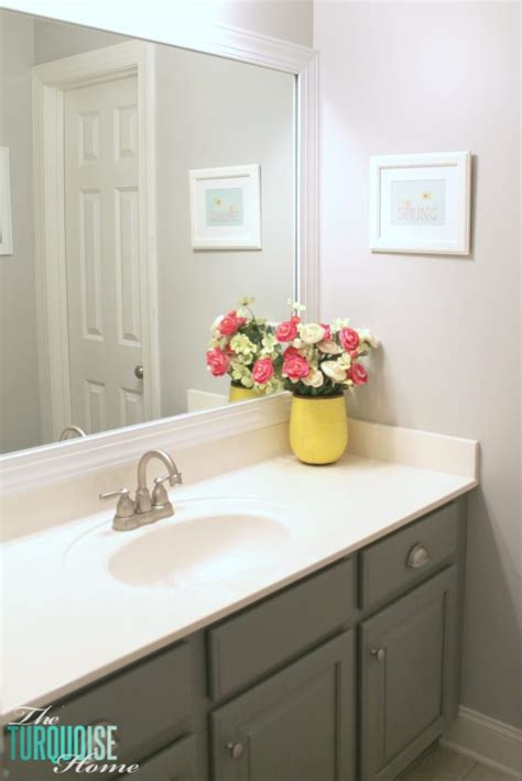 Builder Grade Bathroom Mirror by How To Frame A Builder Grade Mirror The Turquoise Home