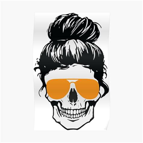 """Higher quality than what you see in preview images. """"Messy Bun Hair Skull"""" Poster by lusterhills 