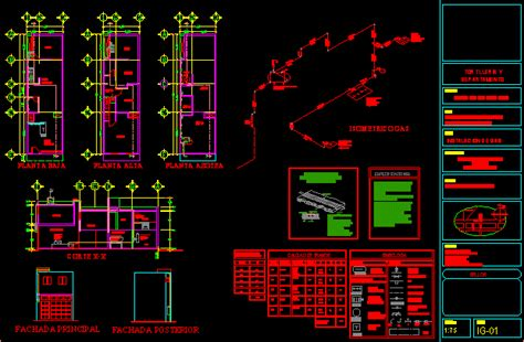 gas project house dwg full project  autocad designs cad