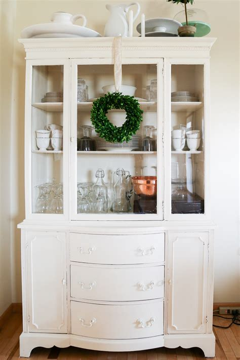 Painted Hutch Ideas - lightly distressed white chalk painted china hutch