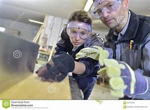 Instructor Teaching Apprentice Carpentry Stock Photo