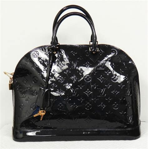 louis vuitton alma gm dark blue monogram vernis patent