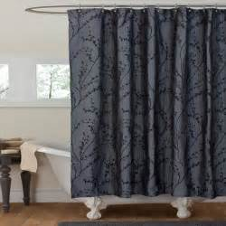 Blue Shower Curtain Liner by Lush Decor Flower Texture Gray Shower Curtain