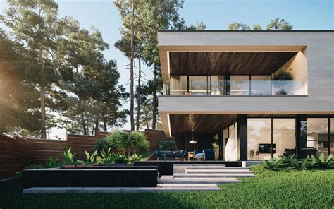 architecture house design gated riverside modern house in ukraine surrounded by