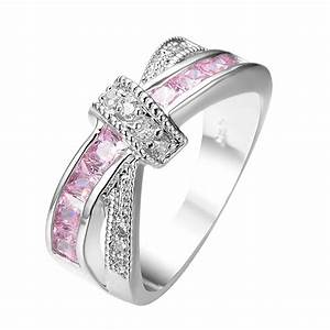 Crossed pink sapphire women finger ring white gold filled for Pink wedding rings for women